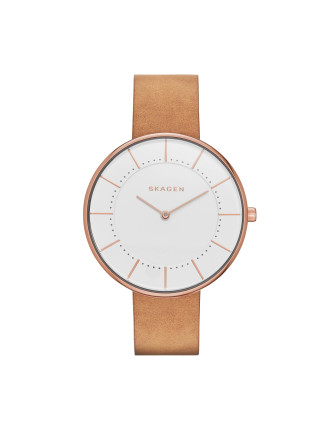 Gitte Brown Leather And Stainless Steel Watch