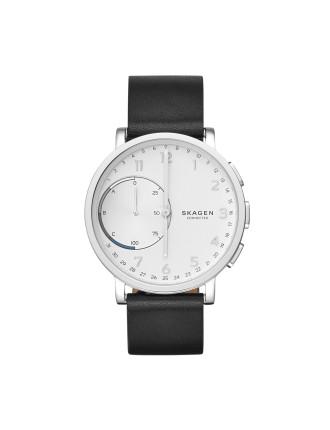 Hagen Black Leather Hybrid Smartwatch