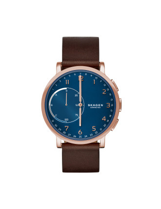 Hagen Brown And Blue Leather Hybrid Smartwatch
