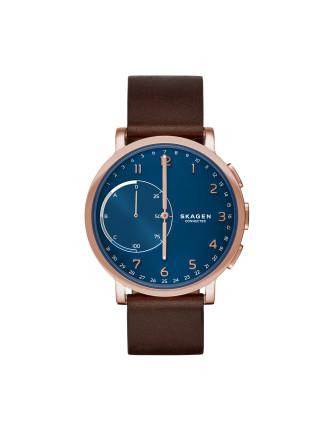 men david jones hagen brown and blue leather hybrid smartwatch