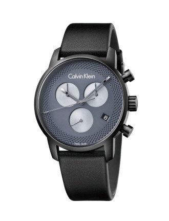 City Chrono Gent Brushed Black Pvd Case, Cool Grey Dial