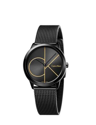 Minimal Polished Black Pvd Mesh Bracelet, Ck Logo Black Dial