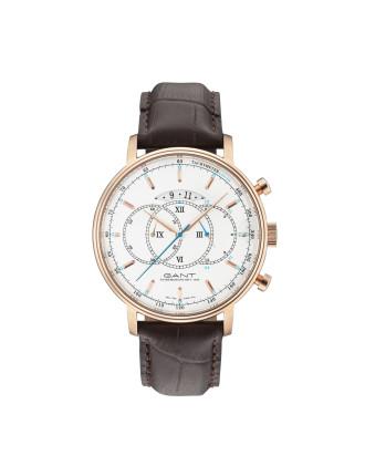 CAMERON Watch - White Dial, Brown Strap