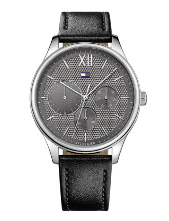 Gents Damon Multifunction SS Rnd Gre Dial Blk Leather Strap