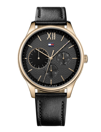 Gents Damon Multifunction Rnd Blk Dial Blk Leather Strap