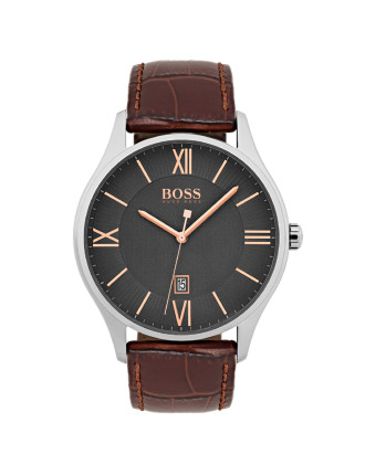 Gents Governor Qtz SS Rnd Gre Dial Brn Leather Strap