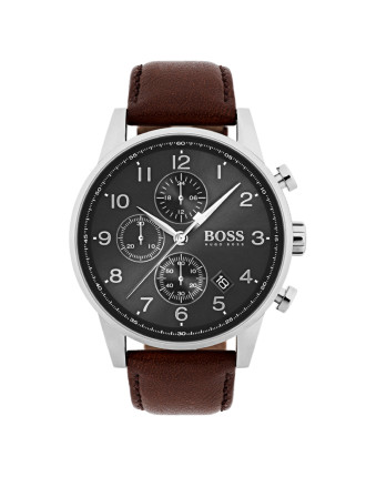 Gents Navigator Chrono SS Rnd Gre Dial Brn Leather Strap