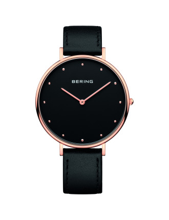 Gents rose, black dial, black leather band
