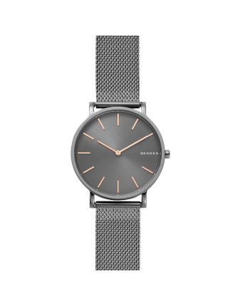 Hagen Slim Dark Gray Steel-Mesh Watch