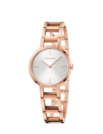 CK cheers lady polished RG PVD bracelet silver dial 32mm