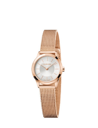 CK minimal polished rose gold PVD case silver dial 24mm