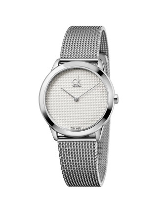 Minimal Polished  Stainless Steel Mesh Bracelet Silver Dial