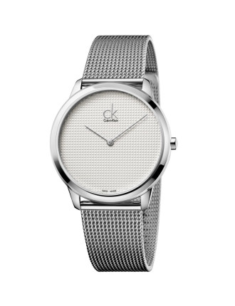Minimal Polished  Stainless Steel Mesh Bracelet, Silver Dial