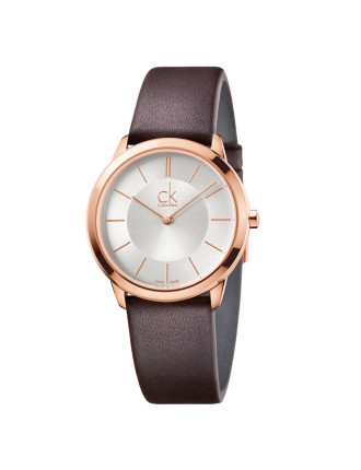 Minimal Brown Leather Strap, Silver Dial, Rose Gold Pvd