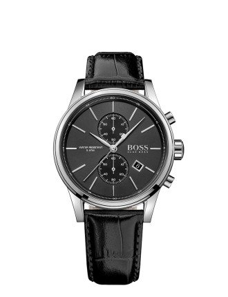 Boss Mens Rnd Blk Chrono Blk Leather Strap