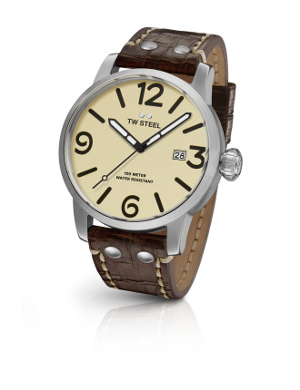 Maverick, 48mm, Quartz, Steel, Cream Dial, Brwn Lthr