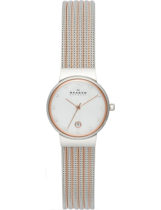 Classic two tone striped mesh women's watch