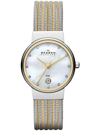 Skagen Classic Two Tone Striped Mesh Women's Watch