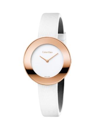 Calvin Klein White Satin Strap Watch - Rose Gold