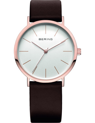 Gents Rose Gold Case, Brown Leather Band