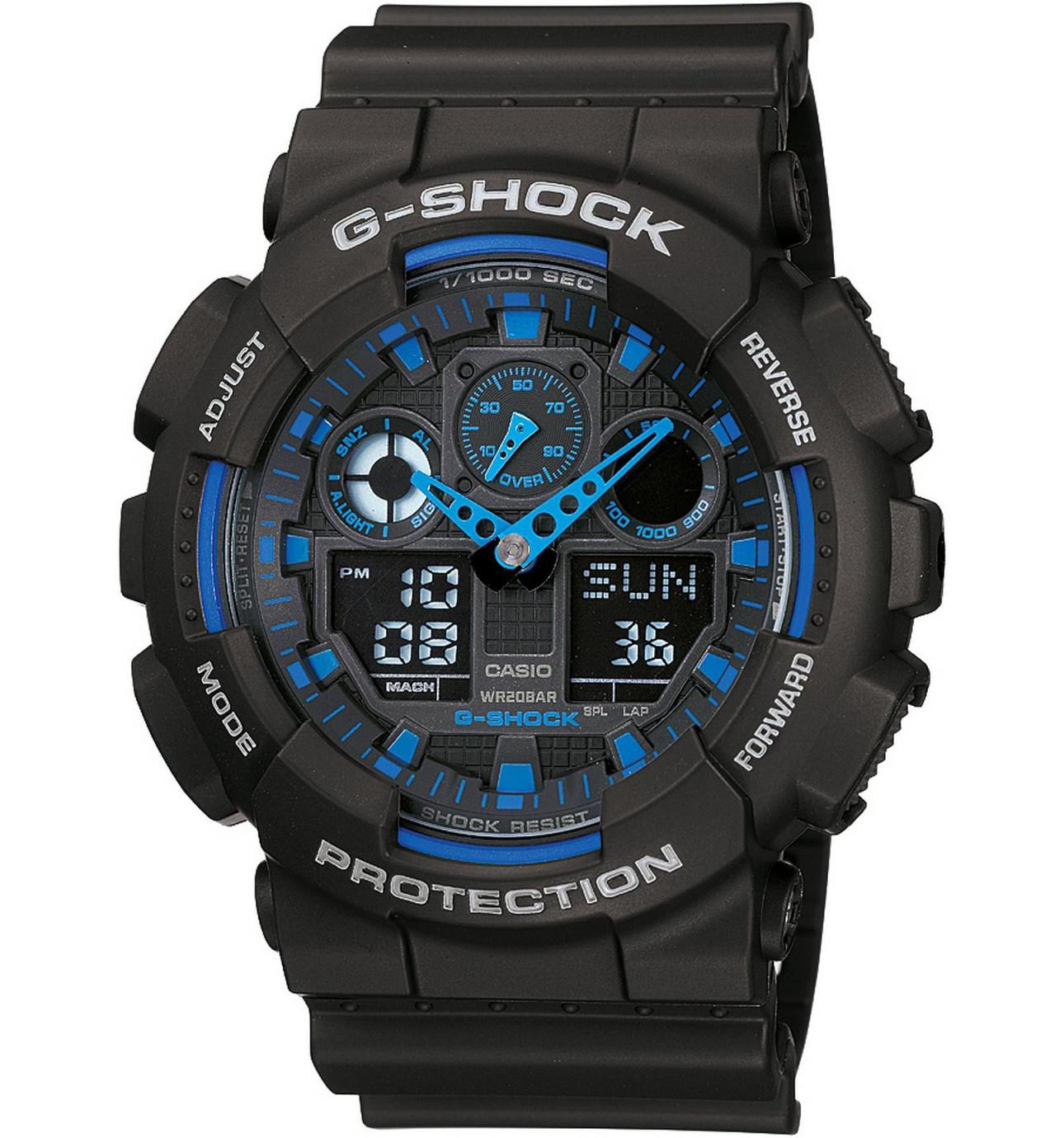 men s watches shop online david jones g shock duo black face blue accents