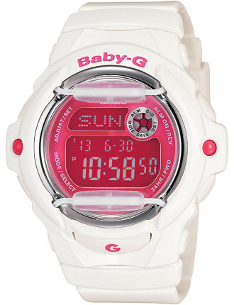 Baby-G Digital Series White With Pink Face + Face Guard