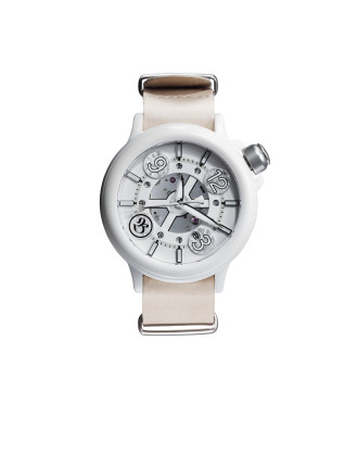 White Dial/Neutral Kangaroo Leather Strap