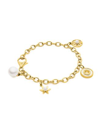 Gold Charm Pearl Bracelet