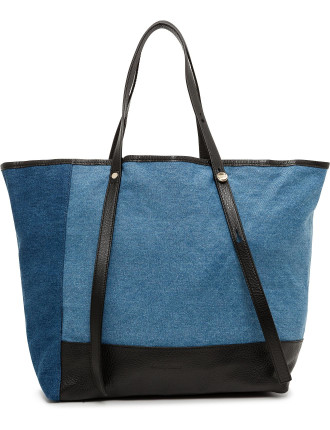 Andy Oversized Denim Patchwork Tote