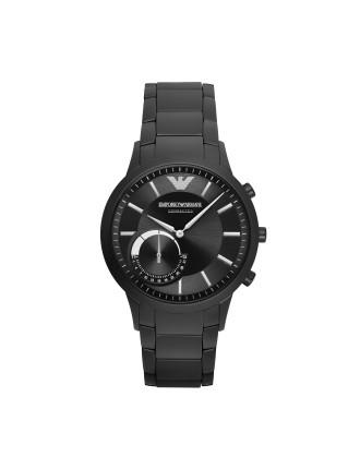 Renato Black Stainless Steel Hybrid Smartwatch