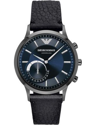 Renato Black Leather Hybrid Smartwatch
