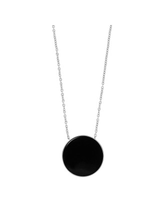 Ellen Silver Steel And Onyx Necklace