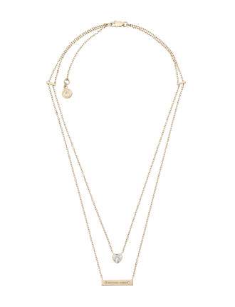 Brilliance Gold Steel And Cubic Zirconia Necklace