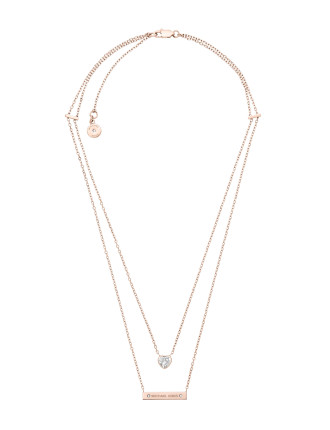 Brilliance Rose Gold Steel And Cubic Zirconia Necklace