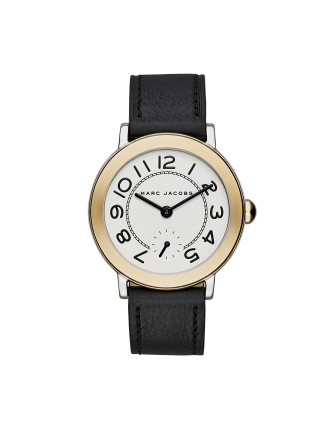 Riley Black Leather And Stainless Steel Watch