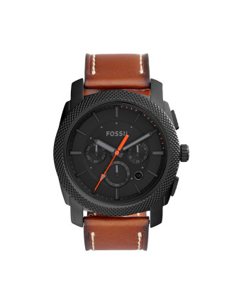 Machine Light Brown Leather And Stainless Steel Watch