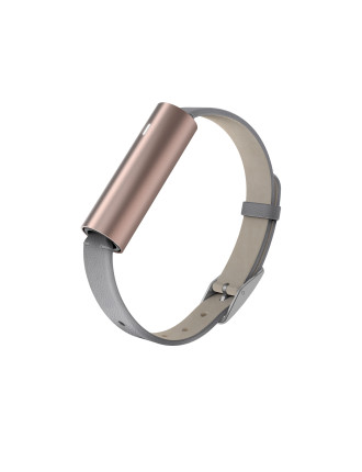Misfit Ray- Rose Gold-Tone Stainless Steel/Grey Leather Band