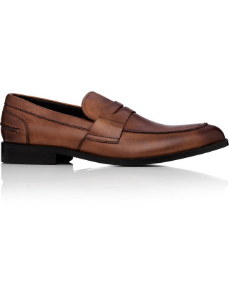 Duke It Out Brushed Leather  Penny Loafer W/ Leather Sole