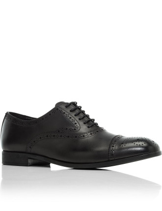 Leather Oxford W/ Brogue Detail Cap Toe&Rubber Sole