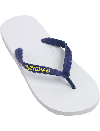 Rubber Thong W/ Woven Look Strap And Logo Detail