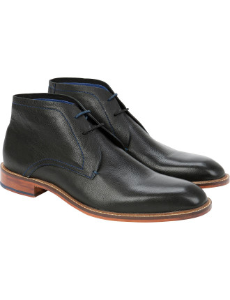 Calf Leather Lace Up Derby Boot W/ Natural Sole