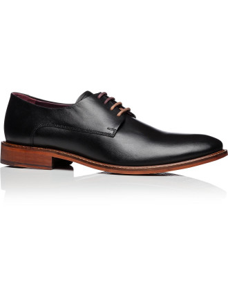 Leather 3 Lace Derby W/ Contrast Leather Sole And Plain Vamp