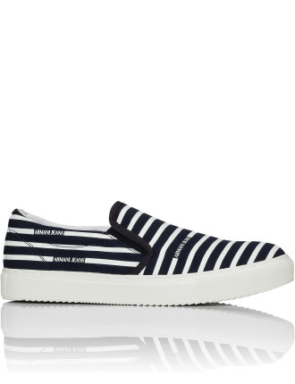 Striped Canvas Slip On Sneaker