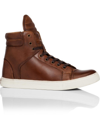 Double Header Leather High Profile Sneaker