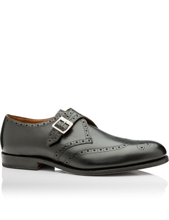 Basil Black Calf Single Buckle Monk Shoe