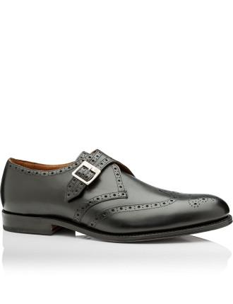 Basil Black Calf Single Buckle Monk Shoe