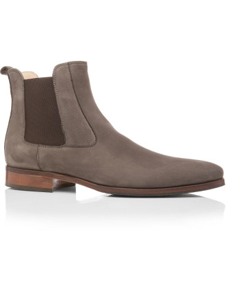 Nubuck Chelsea Boot W/ Natural Leather & Rubber Sole