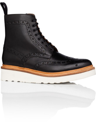 Fred Lace Up Boot W/ Brogue Detail And Wedge Sole