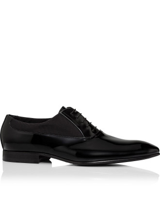 Evedox Patent & Grosgrain Leather Oxford Tuxedo Pump