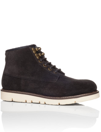 Suede Hiking Boot On Wedge Micro Sole